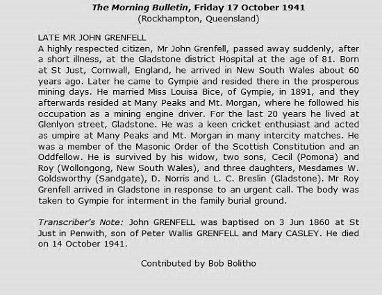 Obituary of John Grenfell
