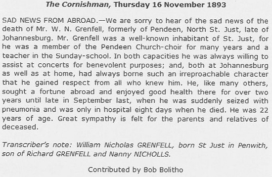 Obituary of W N Grenfell